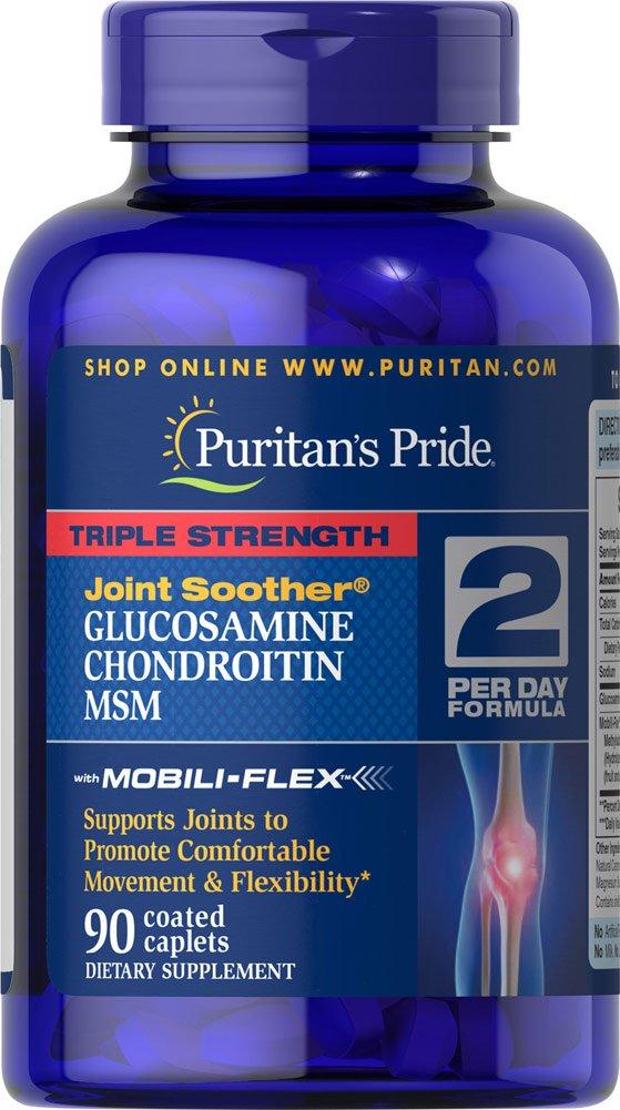 Glucosamina Condroitina MSM Triple Potencia 90 Tabletas. Puritans Pride 1 und.