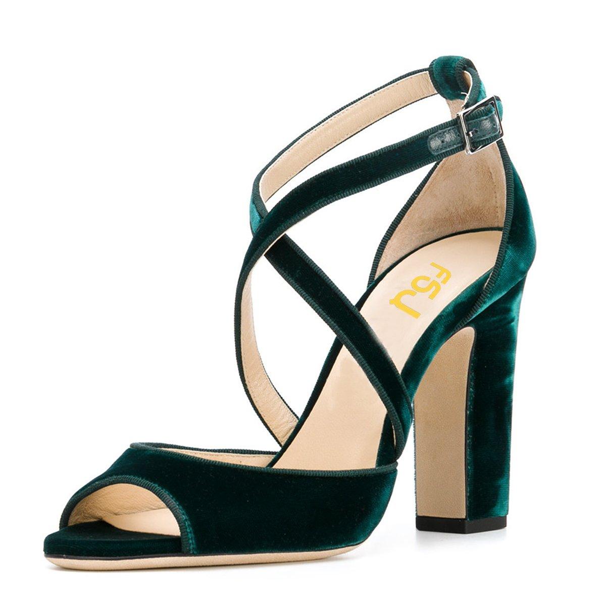 FSJ Women Elegant Peep Toe Sandals Chunky High Heel Pumps Cross Strap Velvet Dress Shoes Size 9.5 Emerald
