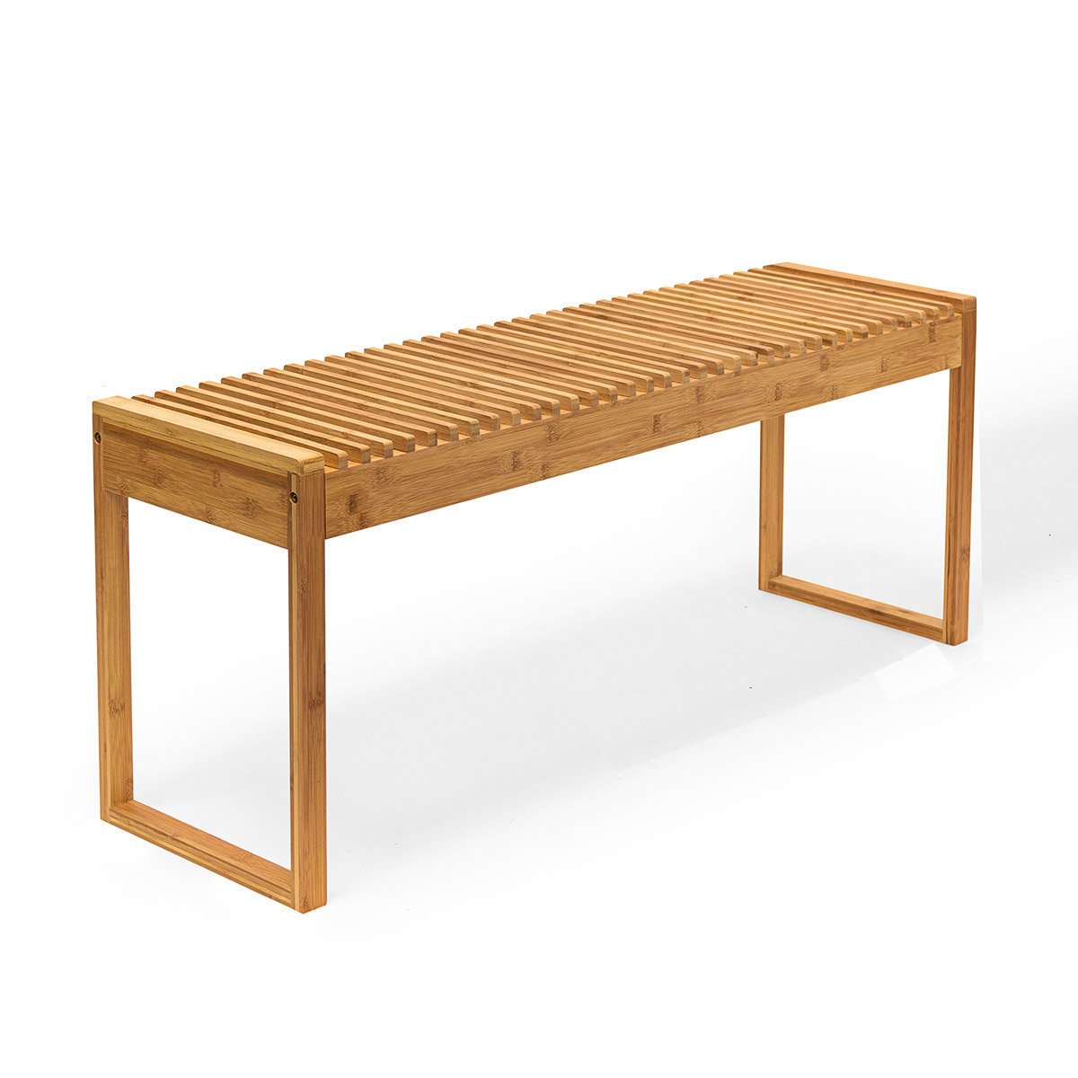 New Ridge Home Goods HX-71451 Indoor/Outdoor Solid Bamboo Bench, Natural