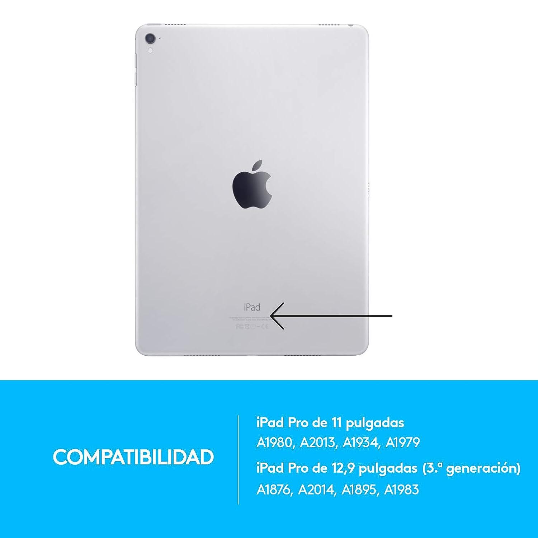 3/ª generaci/ón Funda con Teclado Bluetooth retroiluminado para iPad Pro de 11 Inch Logitech Slim Folio Pro