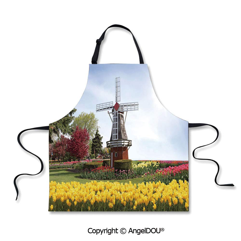 SCOXIXI Printed Kitchen Apron for Woman Man Serene Vast Traditional Garden with Blossoming Flowers Trees Dutch Tulips Decorative Home Cooking BBQ Apron Cleaning Accessory.