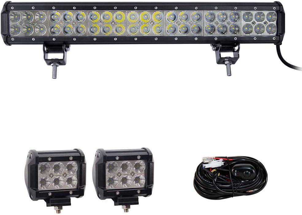 Willpower 20 pulgadas 126W barra de luz led combo spot inundación fuera de carretera luces de trabajo con 4 pulgadas 2 x 18W luces de trabajo de inundación y kit de arnés de giro