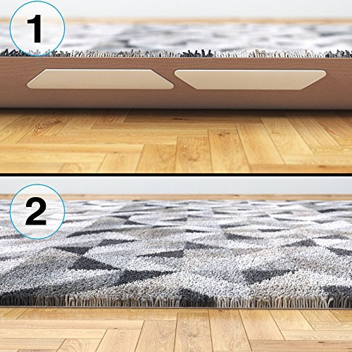 J&B Rug Grippers Premium 8 pcs Anti Curling - Non-Slip Pads For Flat Corners. Renewable Gripper Tape For Carpet, Rugs & Hardwood Floors. Strongest Adhesive Rug Pad w/ No Sticky Residue by Relia Grip by J&B Home Goods (Image #8)