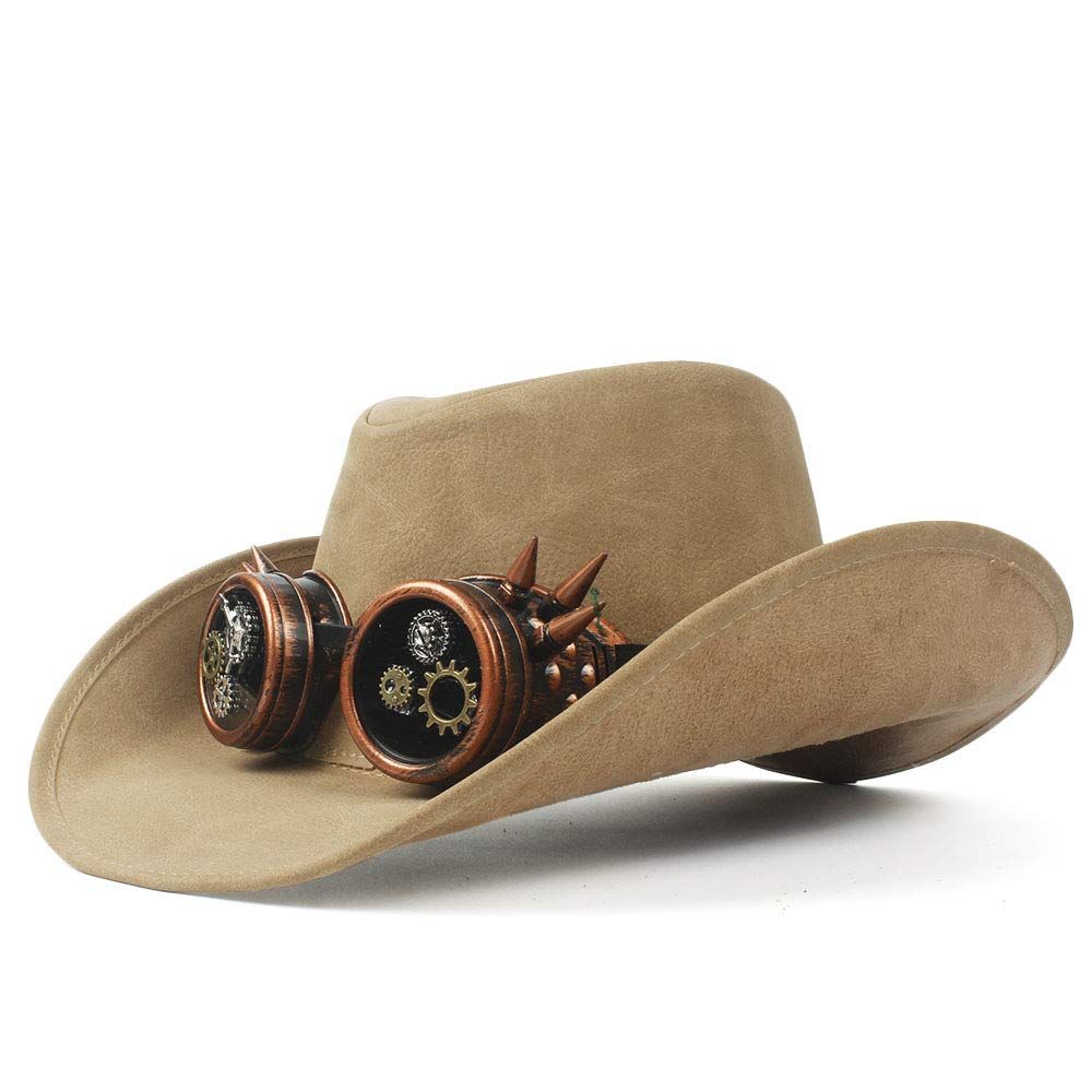 LL Women's Western Cowboy Hat Faux Leather Bowler Metal Decoration Wide Brim Men Women Black Cap (Color : Natural, Size : 57-59cm)