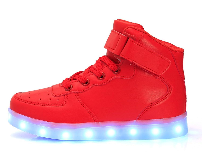 Honeystore Unisex 7 Farbe Farbwechsel USB Aufladen LED Leuchtend High-Top Sport Schuhe Hoch Sneaker Turnschuhe Rot 37 CN YSN20M