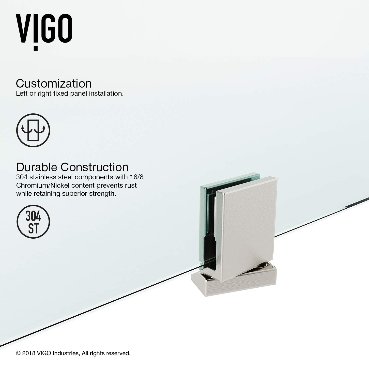 VIGO VG6076 36X74 Cameo Adjustable Frameless Pivot ...