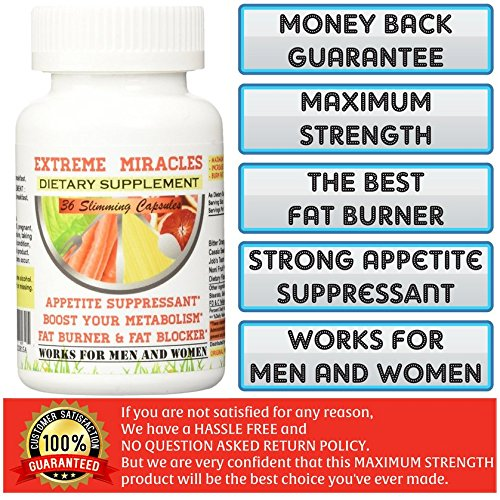 Extreme Miracles Slimming 36 Capsules. The Best Weight Loss Supplement. 60 Days Money Back Guarantee!