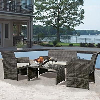 Goplus® 4 PC Rattan Patio Furniture Set Garden Lawn Sofa Cushioned Seat Mix Gray Wicker Sofa