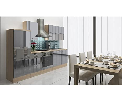 respekta Premium Cocina 280 cm Acacia Gris Brillante Nevera congelador Combinado 144 cm vitrocerámica
