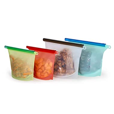 Sparks Kitchen Co. Reusable Silicone Food Storage Bags 4 Pack, 2 Large & 2 Medium Storage Containers, Leakproof Seal Cooking Bag Vegetables Meats Baby Food Lunch Snacks Freezer Microwave Sous Vide