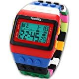SHHORS Rainbow Building Blocks Digital LED Light Ladies Men's Waterproof Sport Watch LED087
