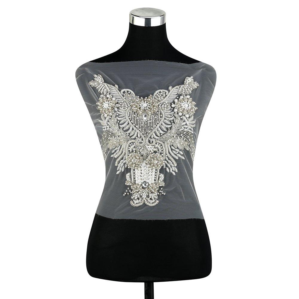af603fcfcb Amazon.com: Bodice Crystal Beaded Rhinestone Applique,FAGNZHIDI ...