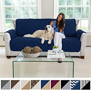 MIGHTY MONKEY Premium Reversible Sofa Slipcover, Seat Width to 70 Inch Furniture Protector, 2 Inch Elastic Strap, Washable Couch Slip Cover, Protect Sofas from Kids, Dogs, Cats, Sofa, Navy Tan