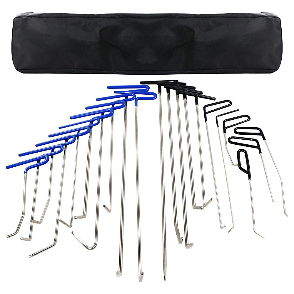 MMPP PDR Tools 20 Pieces of PDR Rods Set Kit with Tool Bag Paintless Dent Repair Tools Kit Hail Rods Repair Tools Dent Removal of Hail Dents and Door Ding
