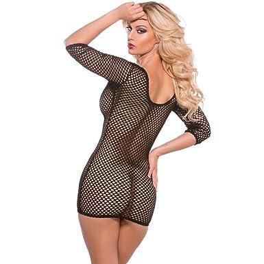 0d89e74a1b3 Amazon.com  XO Vinyl   Fishnet Dress Black O S  Clothing
