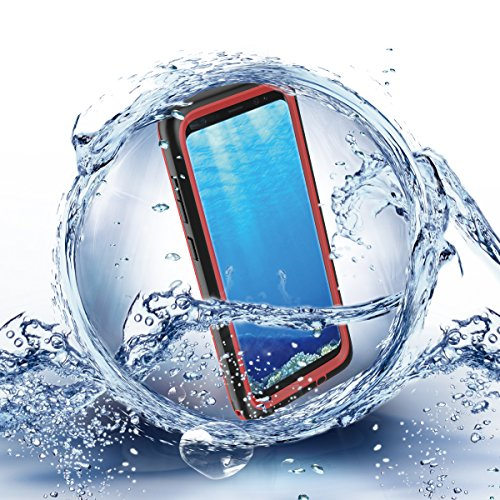 Samsung Galaxy S8 Plus (2017) Waterproof Case, Yuqoka Underwater Full Body ShockProof SnowProof DirtProof Case with Fingerprint Recognition Touch ID for Samsung Galaxy S8 Plus - Red
