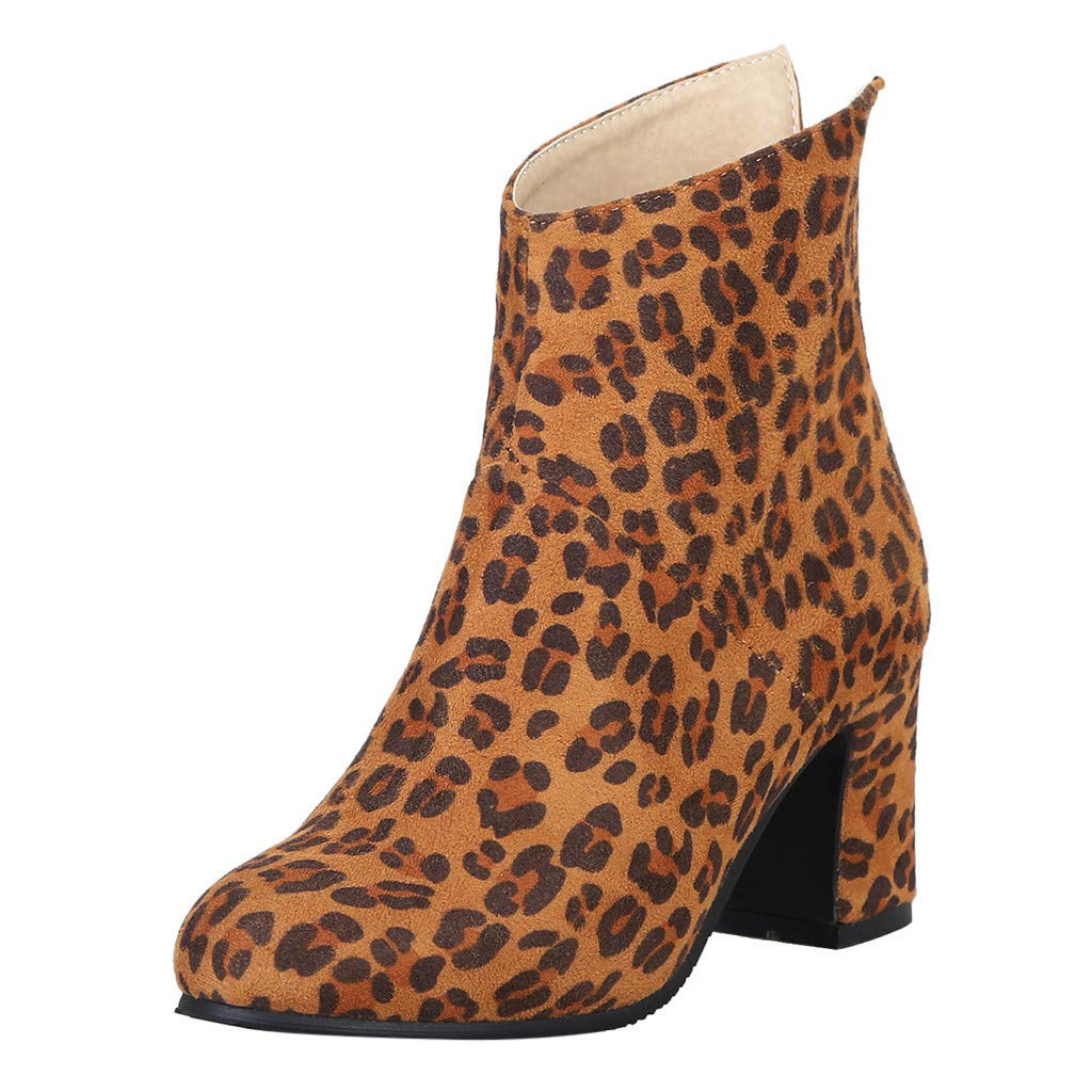 Women Round Toe Zipper Boots Chunky Block Heel Ankle Leopard Boots Chelsea Combat Booties by SNOWSONG