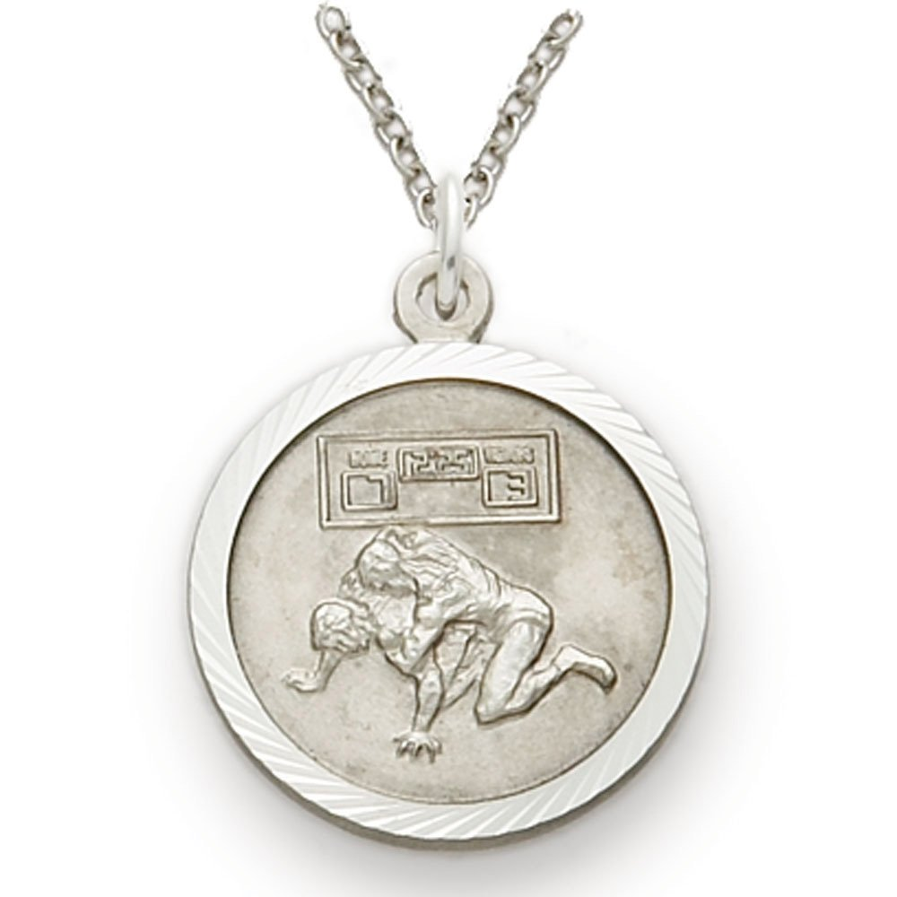 Sterling Silver Wrestling Sports Medal with Saint Christopher Back, 3/4 Inch by TrueFaithJewelry
