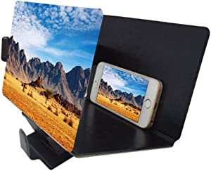 Screen Magnifier for Cell Phone,3D HD Screen Enlarger Movies Amplifier with PU Leather Foldable Holder Stand for iPhone Xs/XR/X/8 Plus/7/7 Plus/6S, Galaxy S9+/S9/8/7,Compatible with All Smartphones