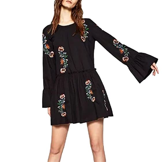 Beautifullight Great,Good looking Fashion Spring Women Vintage Boho Flower Embroidery Loose Dress Casual Long