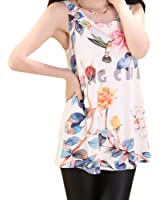 Leisure Flowers Vest Polyester Tank Top Loose Condole Belt Show thin