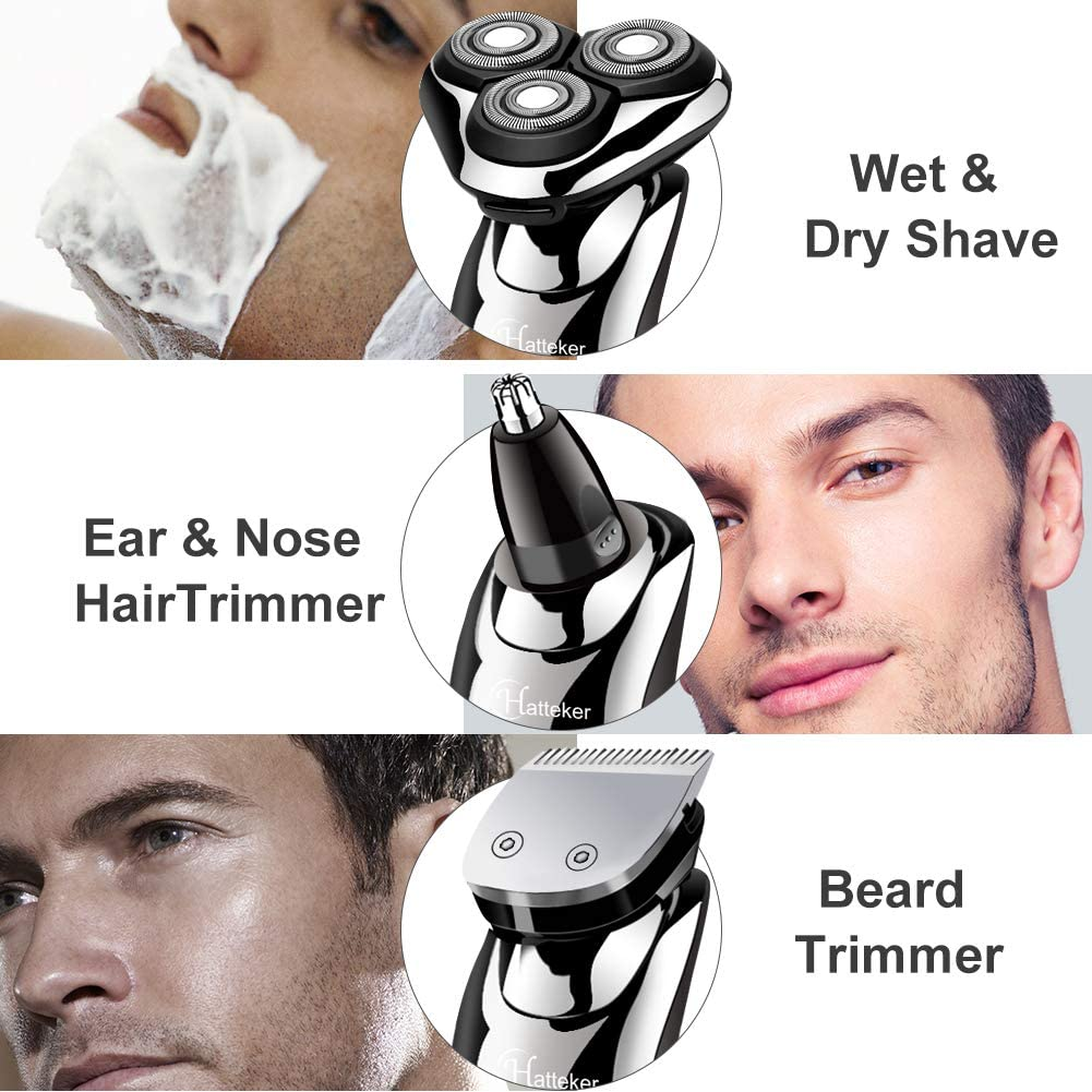 3 In 1 Mens Electric Razor, Cordless Rotary Shaver Waterproof Beard Trimmer Set