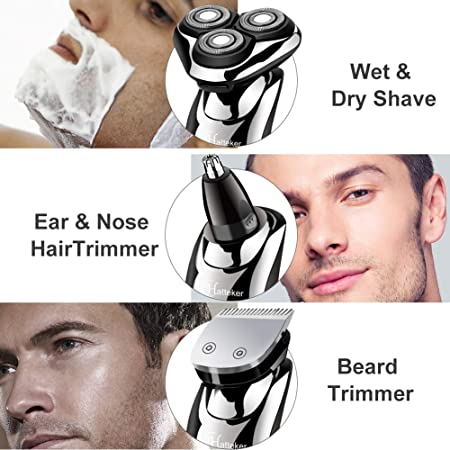 HATTEKER Afeitadora Eléctrica Afeitadora Para Hombres Afeitadora En Seco Y En Húmedo Cortadora Eléctrica Para Barba Recortadora De Precisión Afeitadora Rotativa Para Hombres Impermeable 3 EN 1