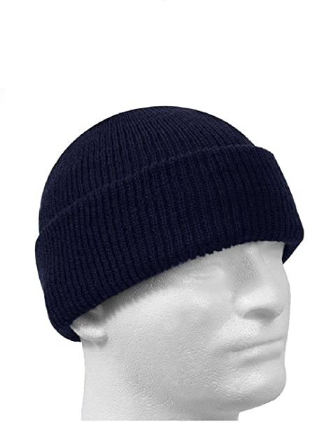 Amazon.com  Navy Blue 100% Wool Hat Winter Cap Knitted Military ... dcd803b90c2