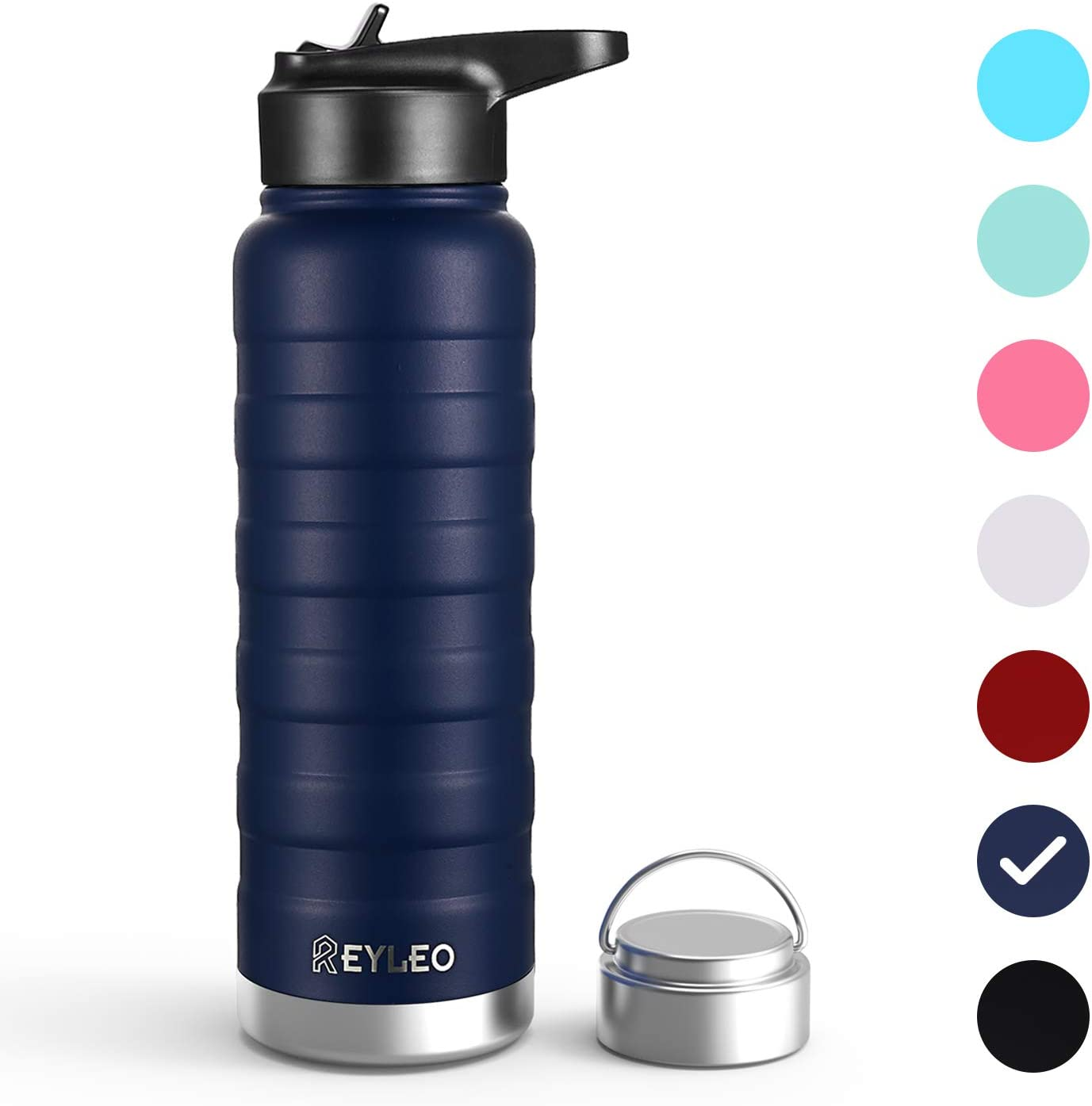 Vacuum Insulated Water Bottle, REYLEO Double Walled Stainless Steel Thermoses with Straw & 2 Lids (32oz 24oz 18oz), with Standard Mouth Keeps Liquids Hot or Cold