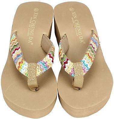 GongzhuMM Sandales Femmes Compensées Tongs Slippers Tissé Coloré Chaussures de Plage Femmes Bohemia Sandales Talon Compensé