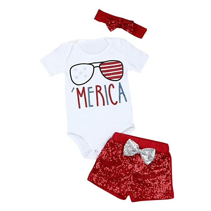 c954eb86f7ba Amazon.com  Cuekondy Infant Toddler Baby Girls 4th Of July Patriotic Letter Romper  Jumpsuit Tops +Headband +Shorts Outfit Clothes 3PC Set  Clothing
