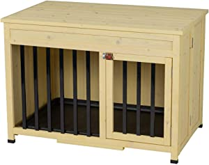 Good Life No Assembly Foldable Indoor Nature Wood Dog Crate Pet Cage Portable Cat/Dogs House Metal Railing with Tray