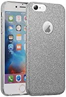 "HR Wireless For Apple iPhone 6/ 6s 4.7"" Hybrid Clear PC TPU with Glitter Paper - Smoke"