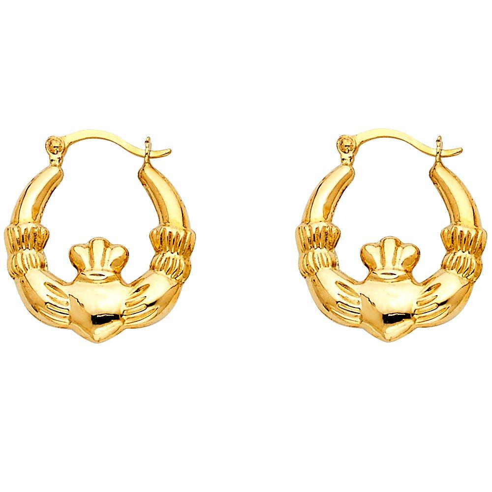 Ioka 14K Yellow Gold Claddagh Hollow Hoop Hinged Earrings