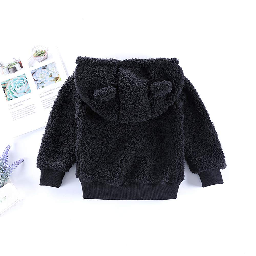 Toddler Faux Shearling Hooded Coat,Leegor Kid Infant Baby Boys Girl Cartoon Ear Pullover Tops Warm Clothes