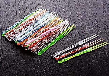 400PCS 10,2/cm plastica usa e getta cocktail Picks forchettine da frutta cocktail bastoncini piatti Picks forchettine da dessert forchette forchettine party supplies Clear