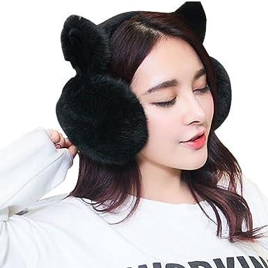 a2bacd9a4e0 Earmuffs Womens Lovely Winter Headwear Earmuff With Ears Plain Foldable  Cute Cat Shape Ear Protection Cover ...