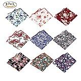 BonjourMrsMr Men's Business Suit Casual Floral Cotton Pocket Square Handkerchiefs Set
