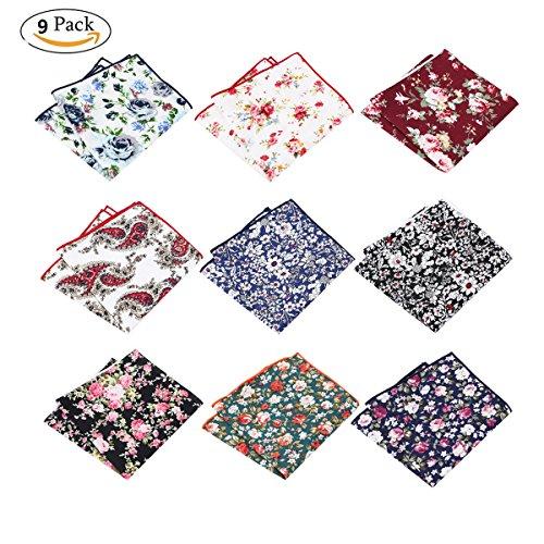 BonjourMrsMr Men's Business Suit Casual Floral Cotton Pocket Square Handkerchiefs Set by BonjourMrsMr