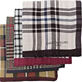LEEVO Handkerchief Men Assorted Woven Cotton 100% Hankies Fashion 4pack Bulk Value Pack (17.5inch 4pack bulk no.1-4th ver.)