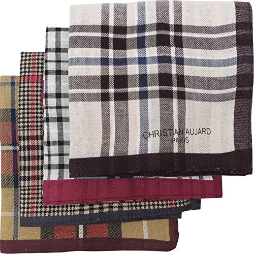 LEEVO Handkerchief Men Assorted Woven Cotton 100% Hankies Fashion 4pack Bulk Value Pack (17.5inch 4pack bulk no.1-4th ver.) by LEEVO