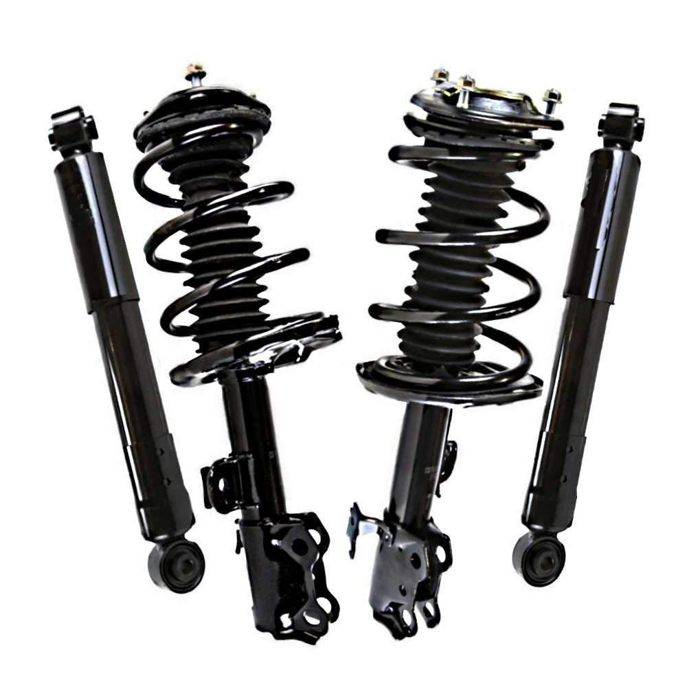2 Prime Choice Auto Parts SUSPKG1198 Front Rear Shocks 2 Complete Struts Assembly W//Coil Springs