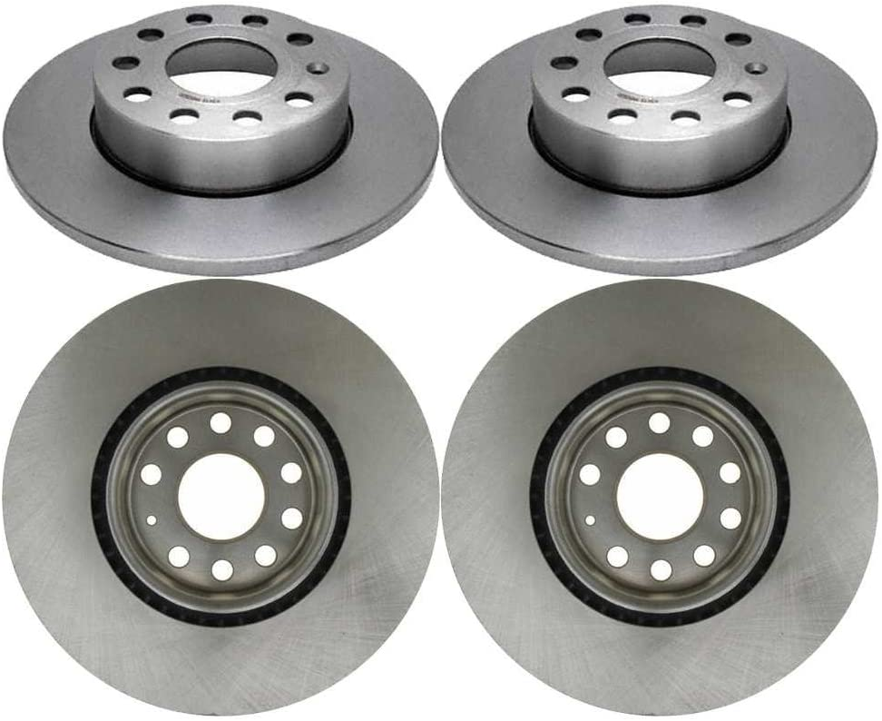 AutoShack R44281-R44296 Set of 4 Front and Rear Disc Brake Rotors Replacement for 2008 Audi A3 2005 2006 2007 2008 2009 2010 Volkswagen Jetta