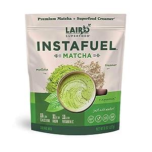 Laird Superfood Instafuel Matcha Plus Creamer - Matcha Latte Green Tea Powder Packed with Antioxidants, 8oz Bag