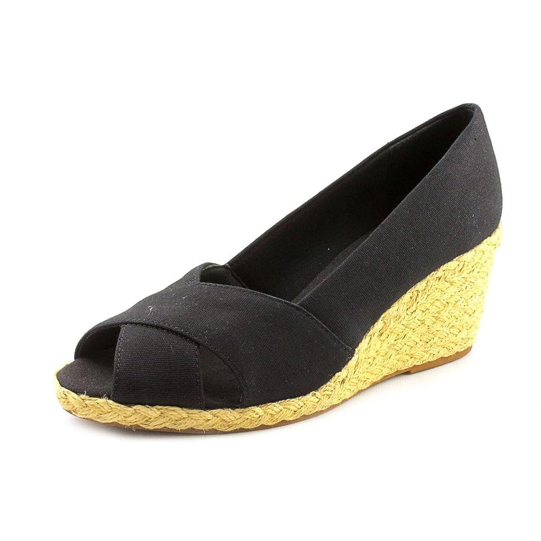 Chaps Black Dakoda Espadrille Wedges - Women Size 6.5