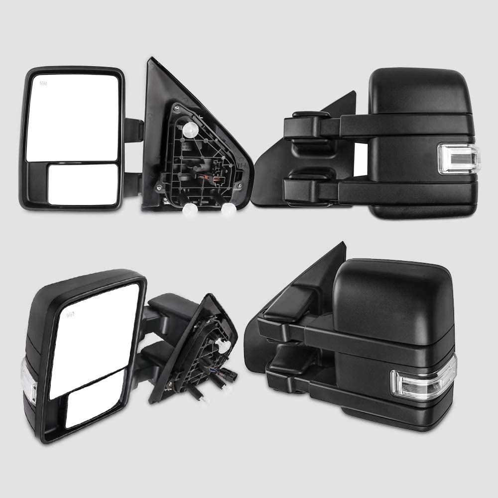 Ineedup Tow Mirrors Towing Mirrors Fit for 2004-2014 Ford F-150 with Left Right Side Power Operation Heated with Turn Signal Light