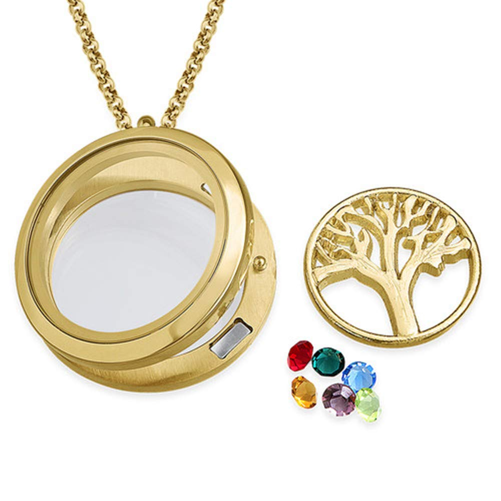 YvetteWu Personalized My Family Tree Sterling Silver Graduation Necklace Customize Round Charms Great Gift Idea for Grandmother and Moms.