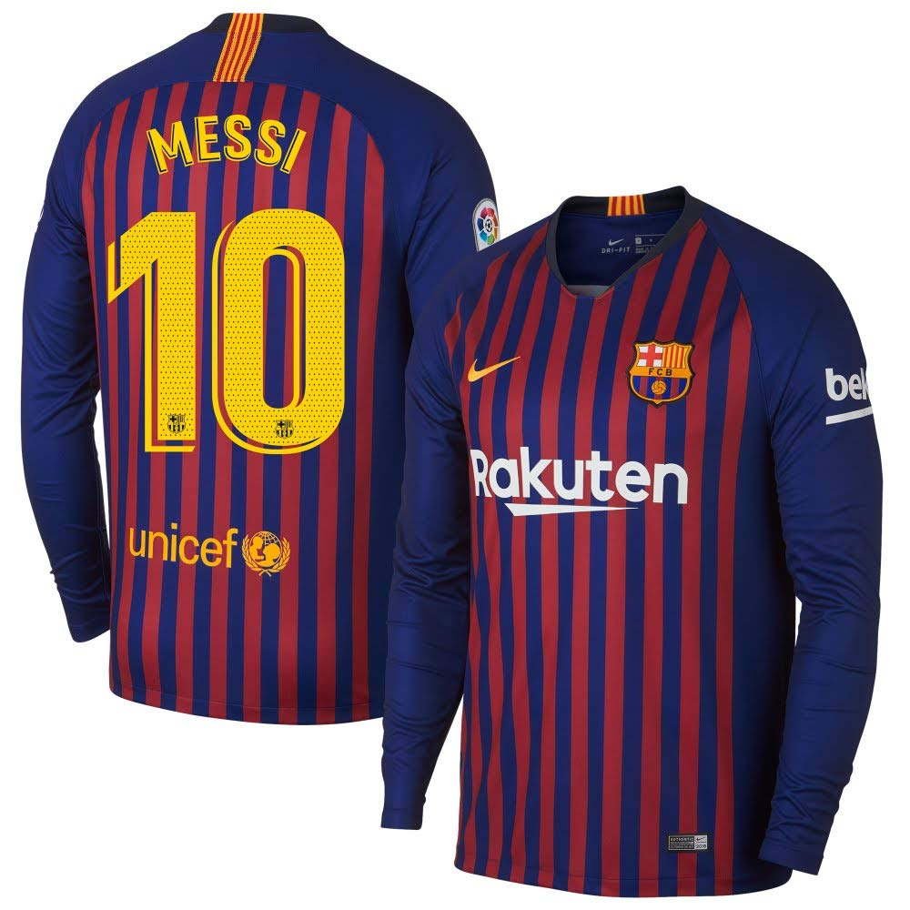 b35bed4ce4d Amazon.com   Nike Barcelona Home L S Messi 10 Jersey 2018 2019 (Official  Printing)   Sports   Outdoors