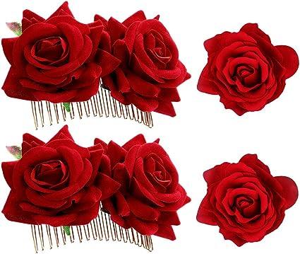 4 pinzas para el pelo con diseño de rosas para mujer, accesorios ...