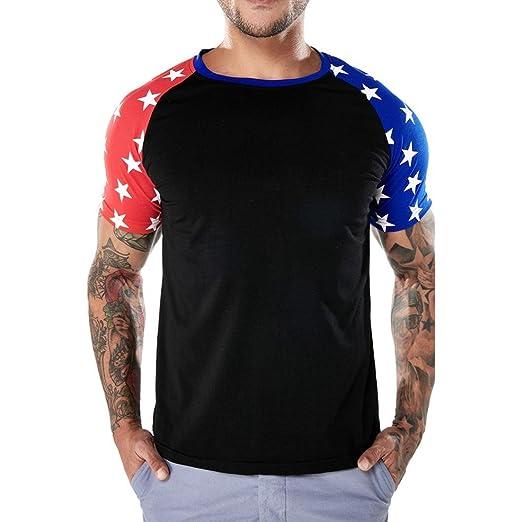 485f90ac7a57 Kollmert Fashion Men's Casual American Flag Slim Short Sleeve T Shirt Tops  Blouse (S,